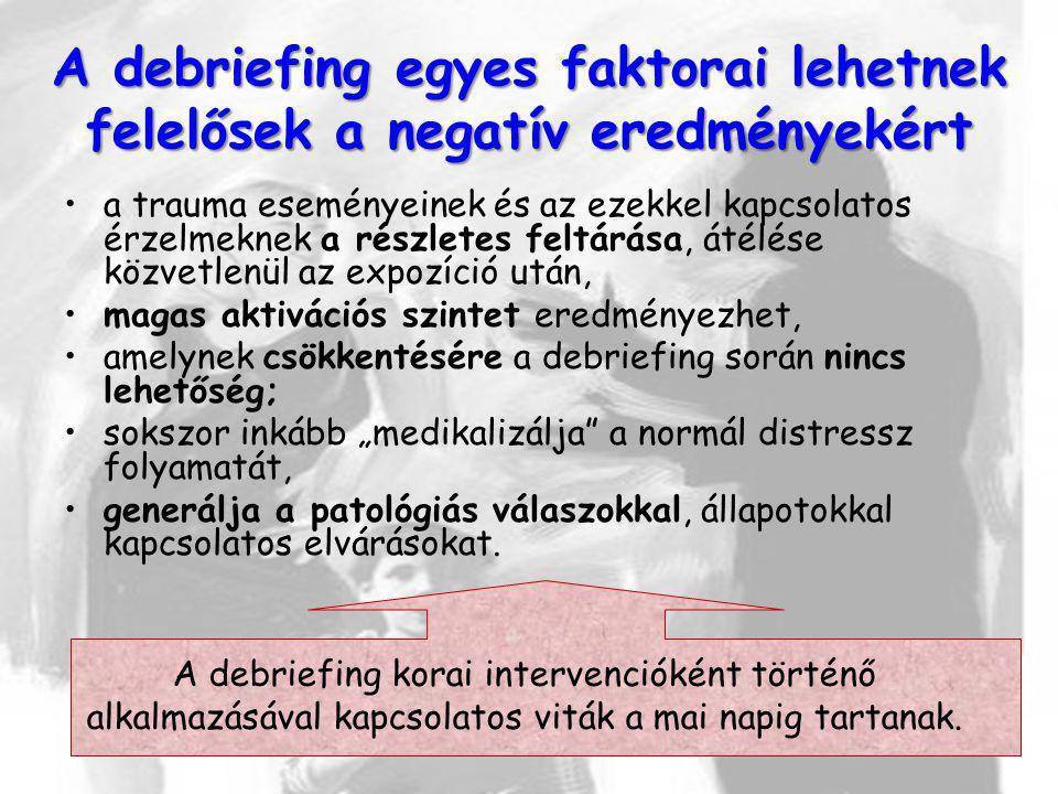A debriefing egyes faktorai lehetnek felelősek a negatív eredményekért a trauma eseményeinek és az ezekkel kapcsolatos érzelmeknek a részletes feltárá