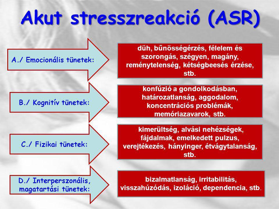 Akut stresszreakció (ASR) A./ Emocionális tünetek: düh, bűnösségérzés, félelem és szorongás, szégyen, magány, reménytelenség, kétségbeesés érzése, stb