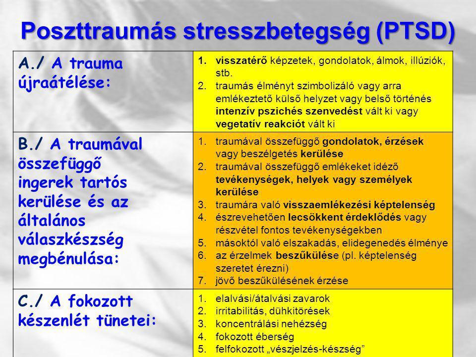 Poszttraumás stresszbetegség (PTSD) A./ A trauma újraátélése: 1.visszatérő képzetek, gondolatok, álmok, illúziók, stb. 2.traumás élményt szimbolizáló