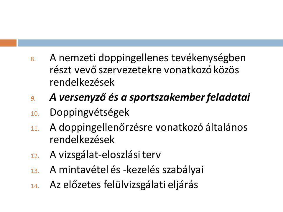 8. A nemzeti doppingellenes tevékenységben részt vevő szervezetekre vonatkozó közös rendelkezések 9. A versenyző és a sportszakember feladatai 10. Dop