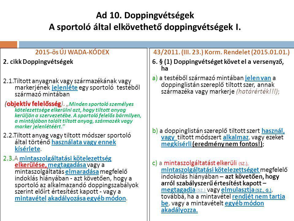 Ad 10.Doppingvétségek A sportoló által elkövethető doppingvétségek I.