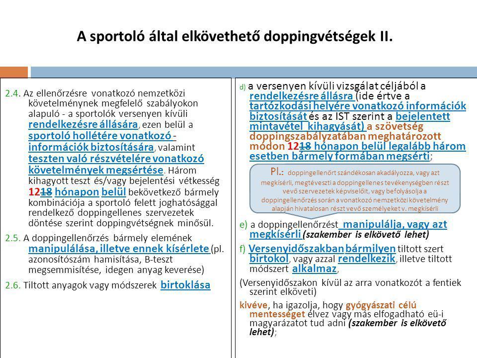 A sportoló által elkövethető doppingvétségek II.2.4.