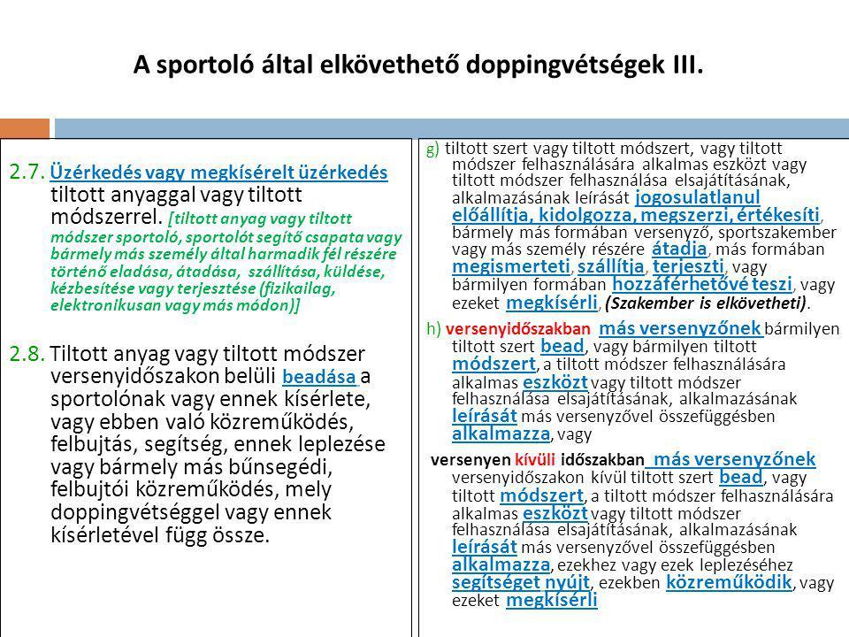 A sportoló által elkövethető doppingvétségek III.2.7.
