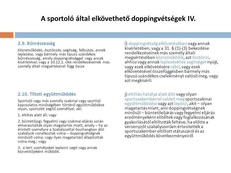 A sportoló által elkövethető doppingvétségek IV.2.9.