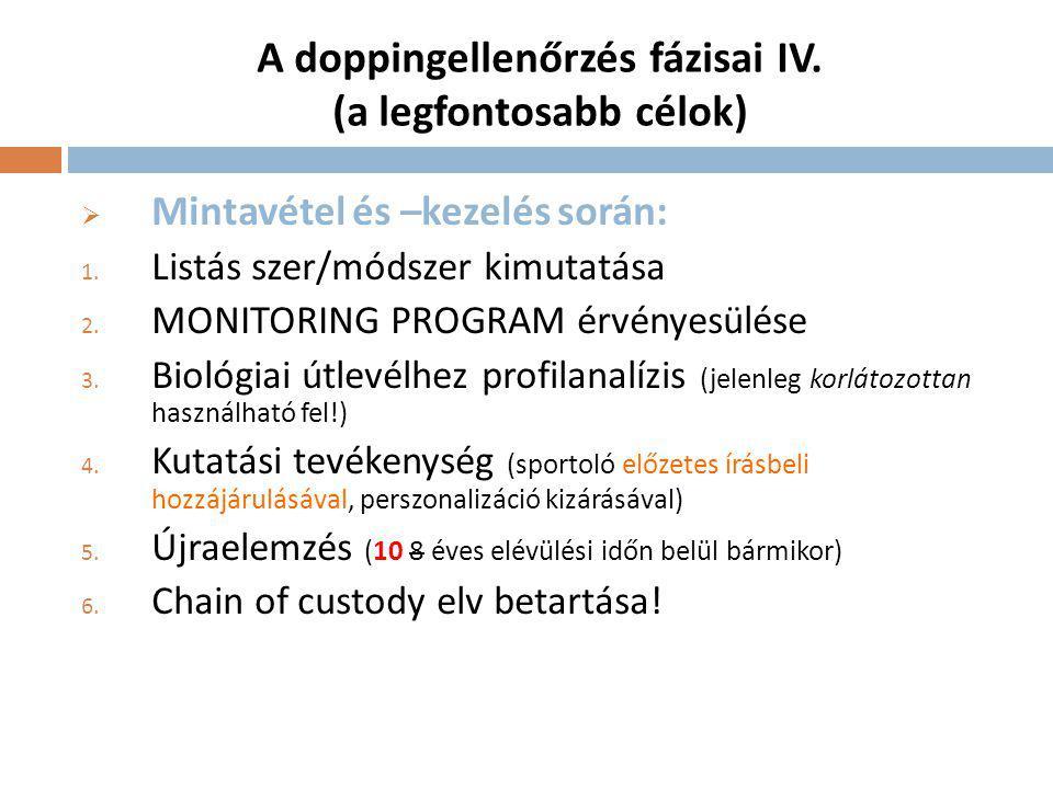 A doppingellenőrzés fázisai IV.(a legfontosabb célok)  Mintavétel és –kezelés során: 1.