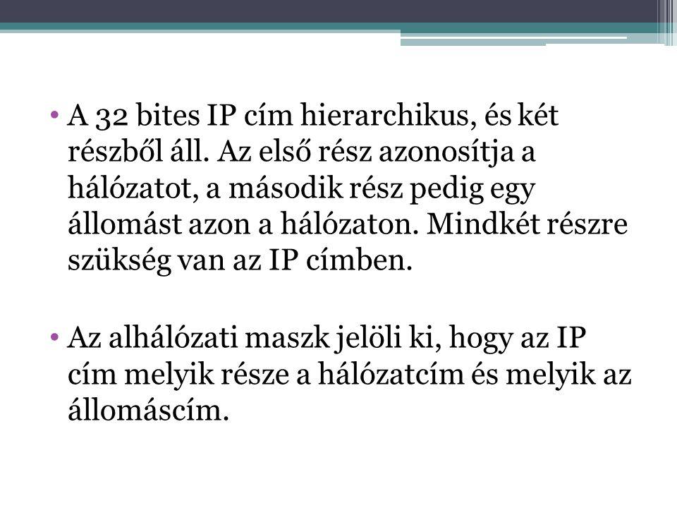 A 32 bites IP cím hierarchikus, és két részből áll.