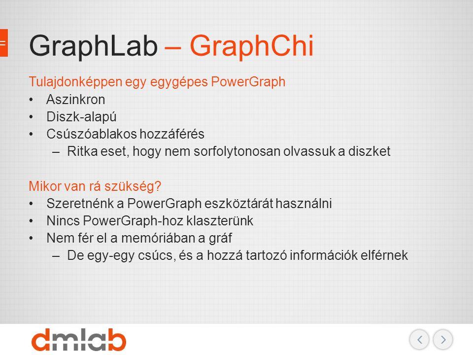 GraphLab – GraphChi Tulajdonképpen egy egygépes PowerGraph Aszinkron Diszk-alapú Csúszóablakos hozzáférés –Ritka eset, hogy nem sorfolytonosan olvassu
