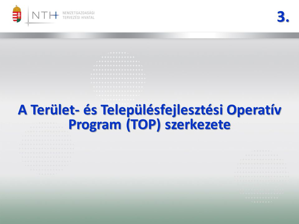 3. A Terület- és Településfejlesztési Operatív Program (TOP) szerkezete