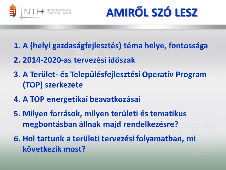 AMIRŐL SZÓ LESZ 1.A (helyi gazdaságfejlesztés) téma helye, fontossága 2.2014-2020-as tervezési időszak 3.A Terület- és Településfejlesztési Operatív Program (TOP) szerkezete 4.A TOP energetikai beavatkozásai 5.Milyen források, milyen területi és tematikus megbontásban állnak majd rendelkezésre.