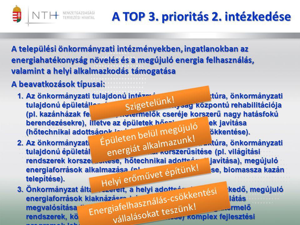A TOP 3. prioritás 2. intézkedése A települési önkormányzati intézményekben, ingatlanokban az energiahatékonyság növelés és a megújuló energia felhasz