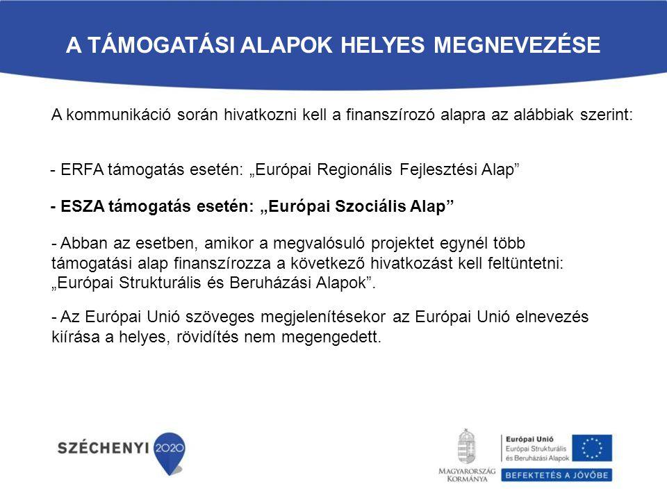 """A TÁMOGATÁSI ALAPOK HELYES MEGNEVEZÉSE A kommunikáció során hivatkozni kell a finanszírozó alapra az alábbiak szerint: - ERFA támogatás esetén: """"Európ"""