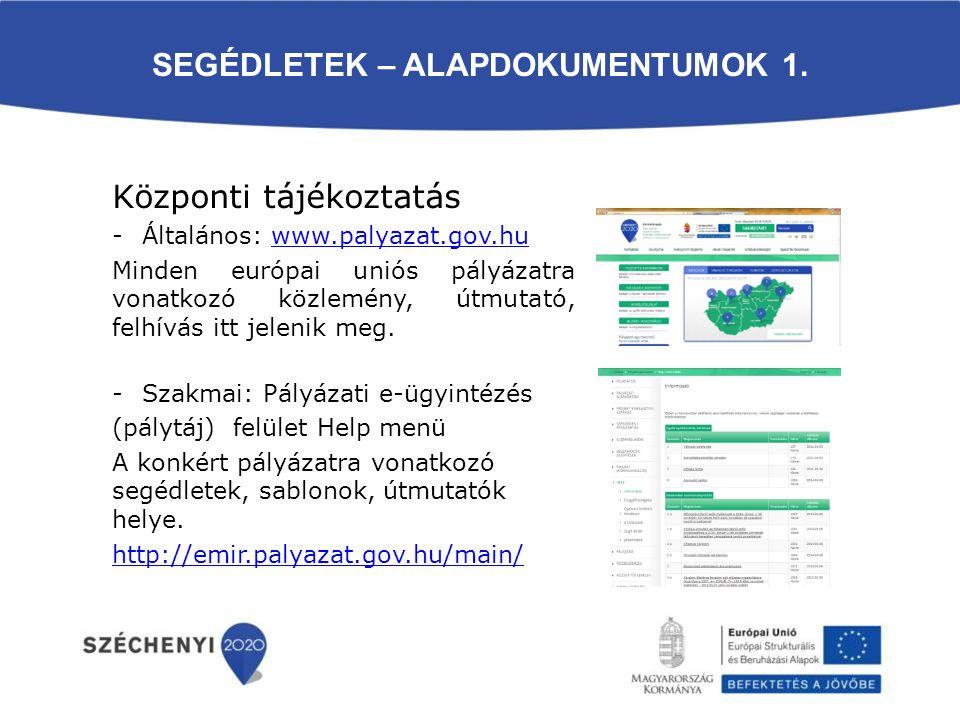SEGÉDLETEK – ALAPDOKUMENTUMOK 1. Központi tájékoztatás -Általános: www.palyazat.gov.huwww.palyazat.gov.hu Minden európai uniós pályázatra vonatkozó kö