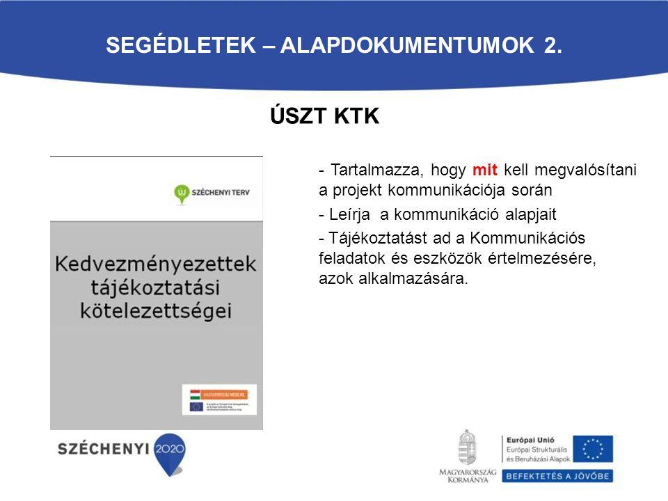SEGÉDLETEK – ALAPDOKUMENTUMOK 2. - Tartalmazza, hogy mit kell megvalósítani a projekt kommunikációja során - Leírja a kommunikáció alapjait - Tájékozt