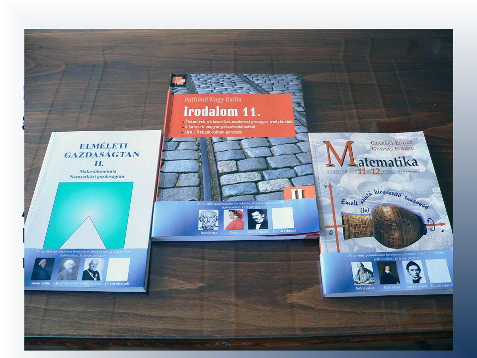 Könyvszalagok Három tankönyvre (matek, irodalom, gazdaságtan) terveztük meg a könyvszalagot.