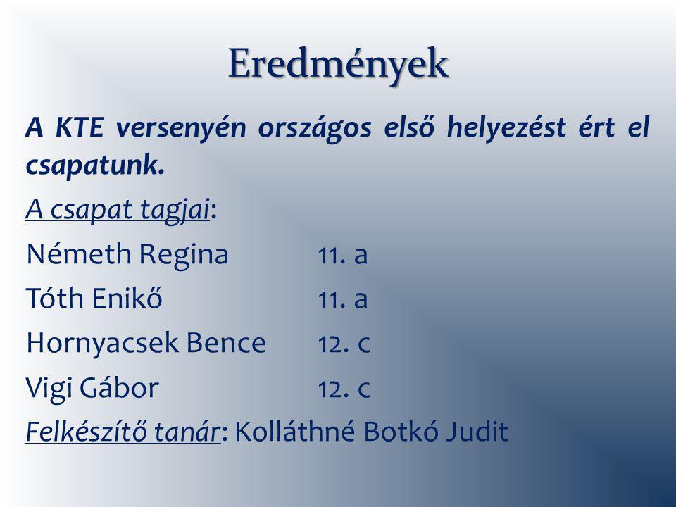 Eredmények A KTE versenyén országos első helyezést ért el csapatunk.