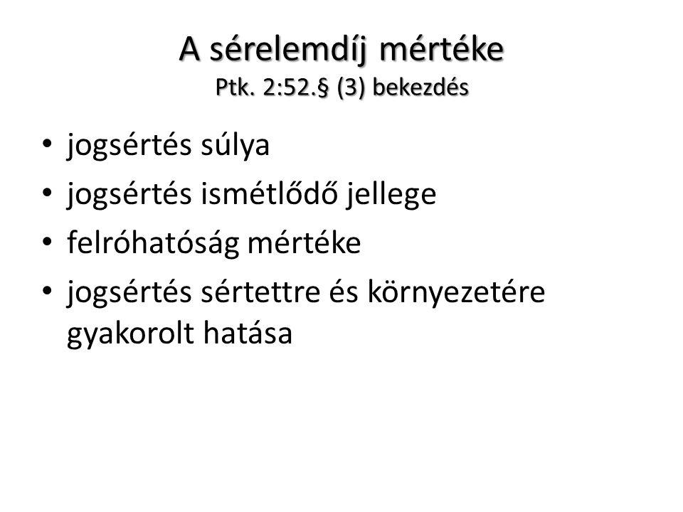 A sérelemdíj mértéke Ptk. 2:52.§ (3) bekezdés jogsértés súlya jogsértés ismétlődő jellege felróhatóság mértéke jogsértés sértettre és környezetére gya