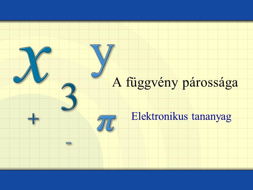 A függvény párossága Elektronikus tananyag
