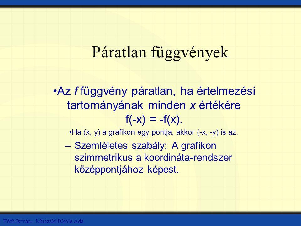 Tóth István – Műszaki Iskola Ada Páratlan függvények Az f függvény páratlan, ha értelmezési tartományának minden x értékére f(-x) = -f(x).