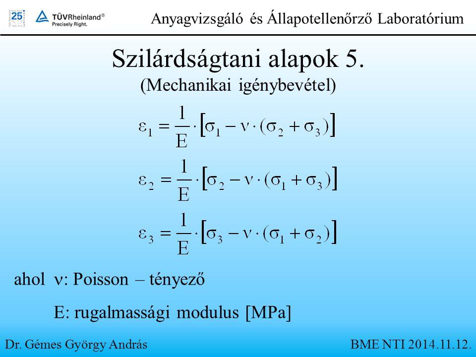 Dr. Gémes György András Anyagvizsgáló és Állapotellenőrző Laboratórium Szilárdságtani alapok 5. (Mechanikai igénybevétel) ahol : Poisson – tényező E: