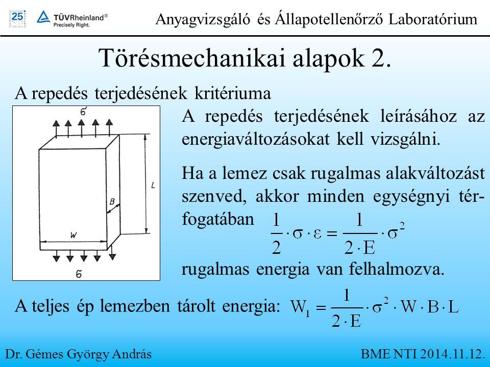 Dr. Gémes György András Anyagvizsgáló és Állapotellenőrző Laboratórium A repedés terjedésének kritériuma Törésmechanikai alapok 2. A repedés terjedésé