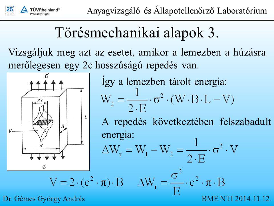 Dr. Gémes György András Anyagvizsgáló és Állapotellenőrző Laboratórium Vizsgáljuk meg azt az esetet, amikor a lemezben a húzásra merőlegesen egy 2c ho