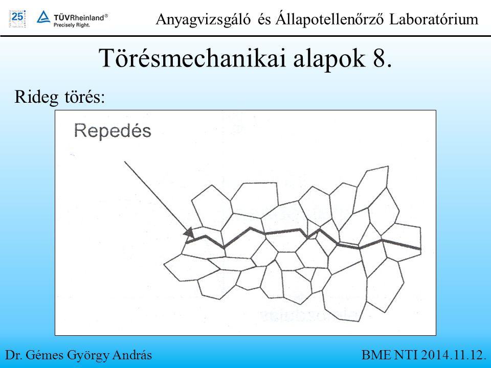 Dr. Gémes György András Anyagvizsgáló és Állapotellenőrző Laboratórium Törésmechanikai alapok 8. BME NTI 2014.11.12. Rideg törés: