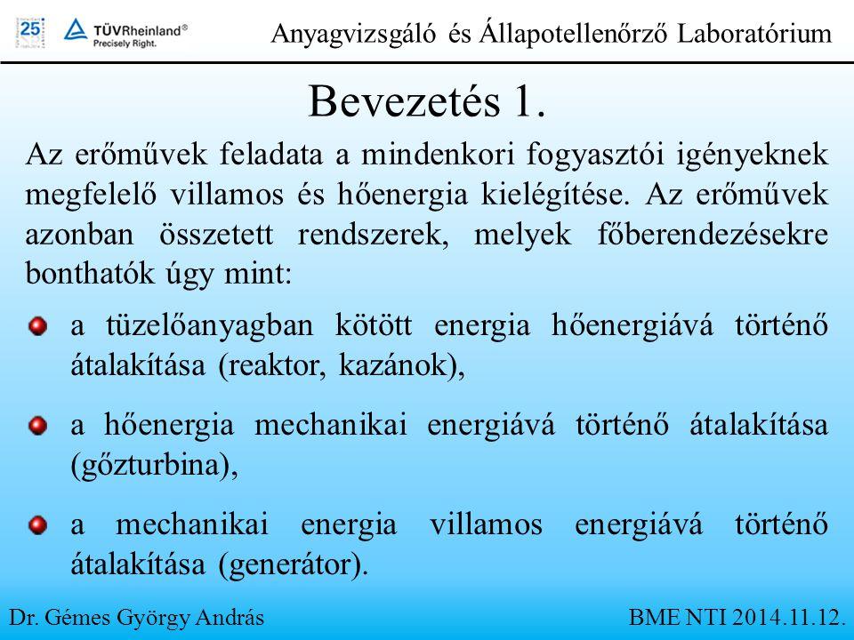 Bevezetés 1. Dr. Gémes György AndrásBME NTI 2014.11.12. Anyagvizsgáló és Állapotellenőrző Laboratórium Az erőművek feladata a mindenkori fogyasztói ig