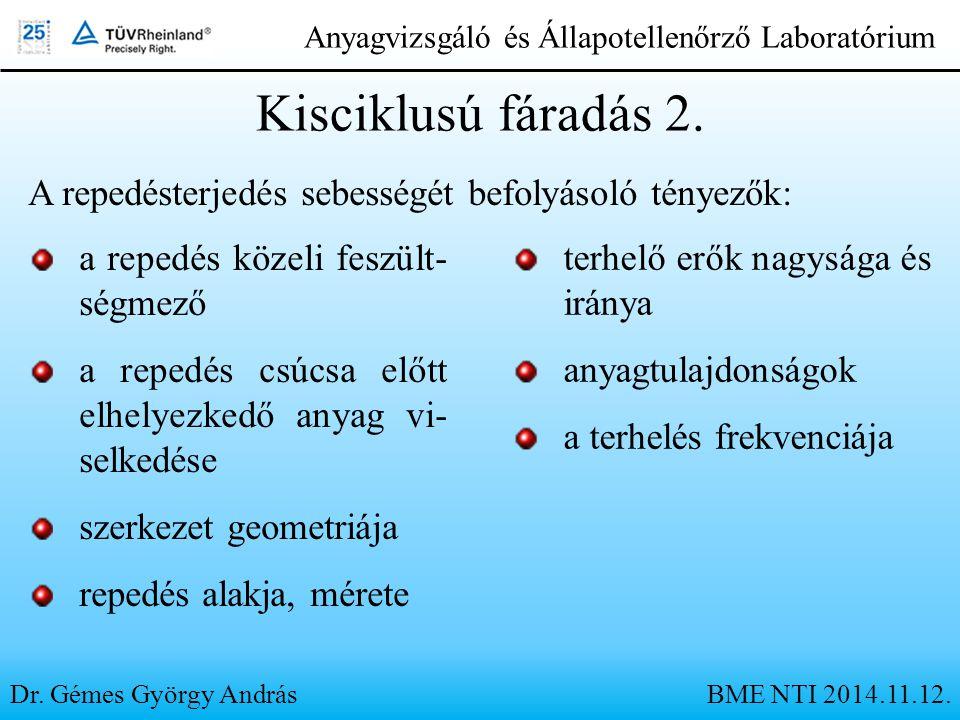 Dr. Gémes György András Anyagvizsgáló és Állapotellenőrző Laboratórium Kisciklusú fáradás 2. A repedésterjedés sebességét befolyásoló tényezők: a repe
