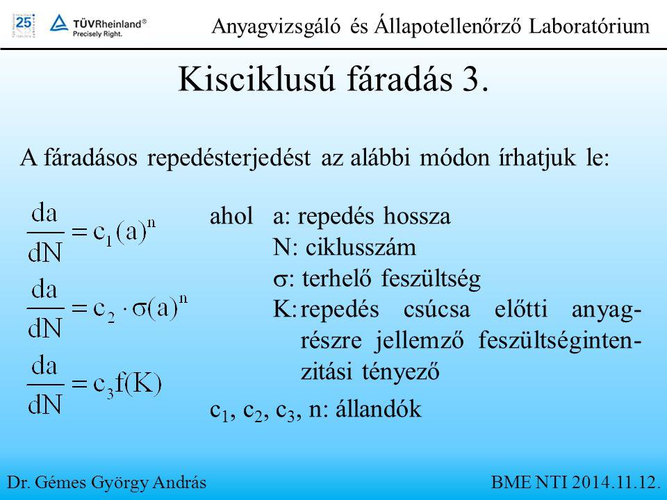 Dr. Gémes György András Anyagvizsgáló és Állapotellenőrző Laboratórium Kisciklusú fáradás 3. A fáradásos repedésterjedést az alábbi módon írhatjuk le: