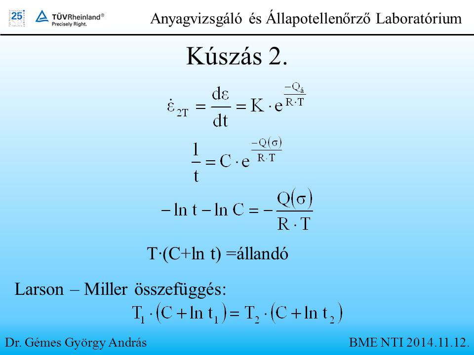Dr. Gémes György András Anyagvizsgáló és Állapotellenőrző Laboratórium Kúszás 2. T·(C+ln t) =állandó Larson – Miller összefüggés: BME NTI 2014.11.12.