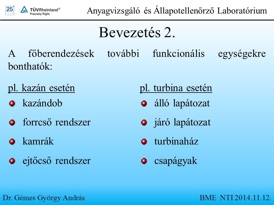 Dr. Gémes György András Anyagvizsgáló és Állapotellenőrző Laboratórium Bevezetés 2. A főberendezések további funkcionális egységekre bonthatók: pl. ka