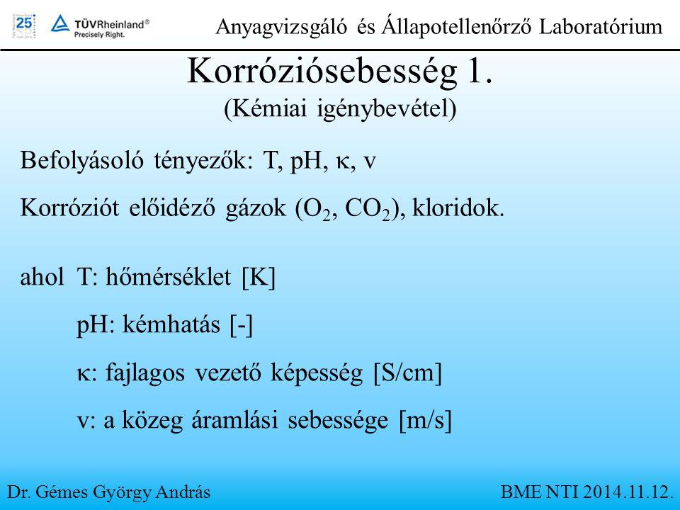 Dr. Gémes György András Anyagvizsgáló és Állapotellenőrző Laboratórium Befolyásoló tényezők: T, pH,  v Korróziót előidéző gázok (O 2, CO 2 ), klori