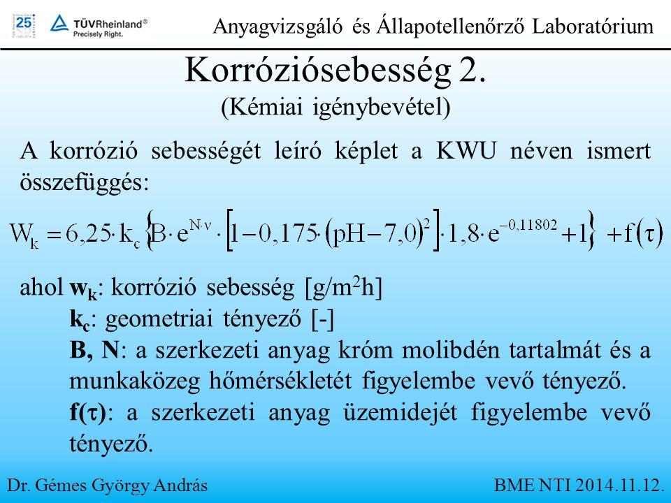 Dr. Gémes György András Anyagvizsgáló és Állapotellenőrző Laboratórium Korróziósebesség 2. (Kémiai igénybevétel) aholw k : korrózió sebesség [g/m 2 h]
