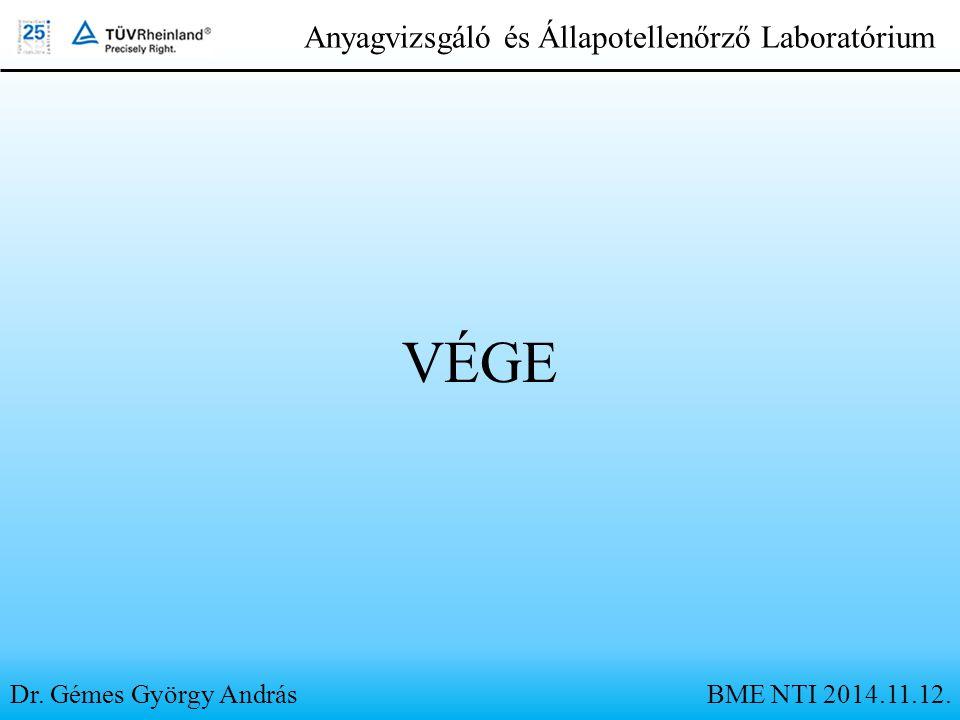 VÉGE Dr. Gémes György András Anyagvizsgáló és Állapotellenőrző Laboratórium BME NTI 2014.11.12.