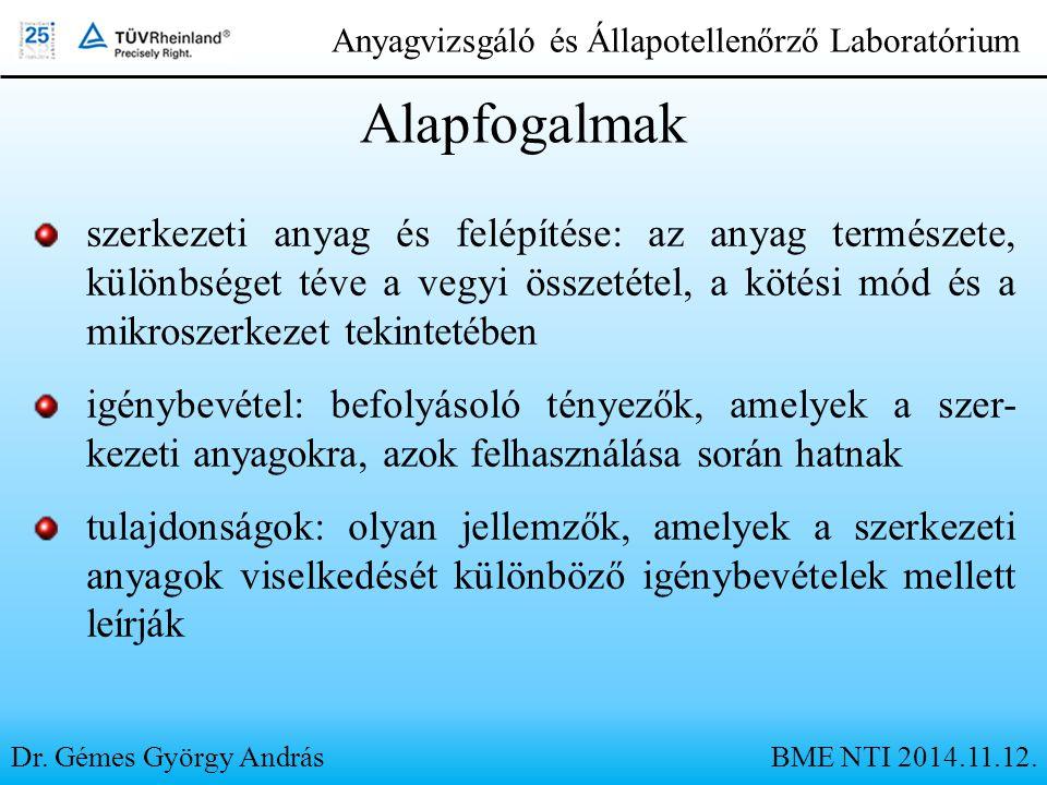 Dr. Gémes György András Anyagvizsgáló és Állapotellenőrző Laboratórium Alapfogalmak szerkezeti anyag és felépítése: az anyag természete, különbséget t