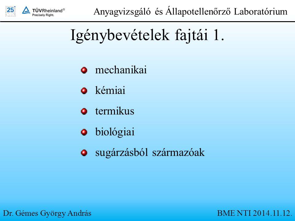 Dr. Gémes György András Anyagvizsgáló és Állapotellenőrző Laboratórium Igénybevételek fajtái 1. mechanikai kémiai termikus biológiai sugárzásból szárm