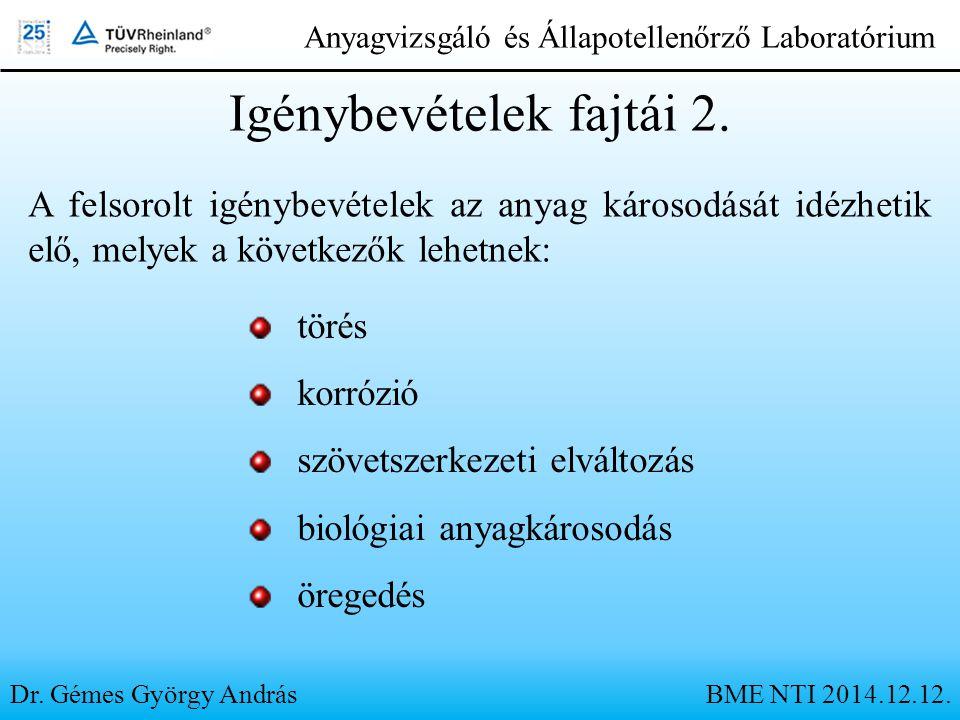 Dr. Gémes György András Anyagvizsgáló és Állapotellenőrző Laboratórium Igénybevételek fajtái 2. A felsorolt igénybevételek az anyag károsodását idézhe