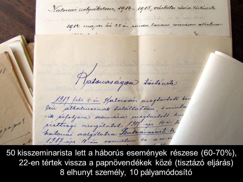 50 kisszeminarista lett a háborús események részese (60-70%), 22-en tértek vissza a papnövendékek közé (tisztázó eljárás) 8 elhunyt személy, 10 pályamódosító