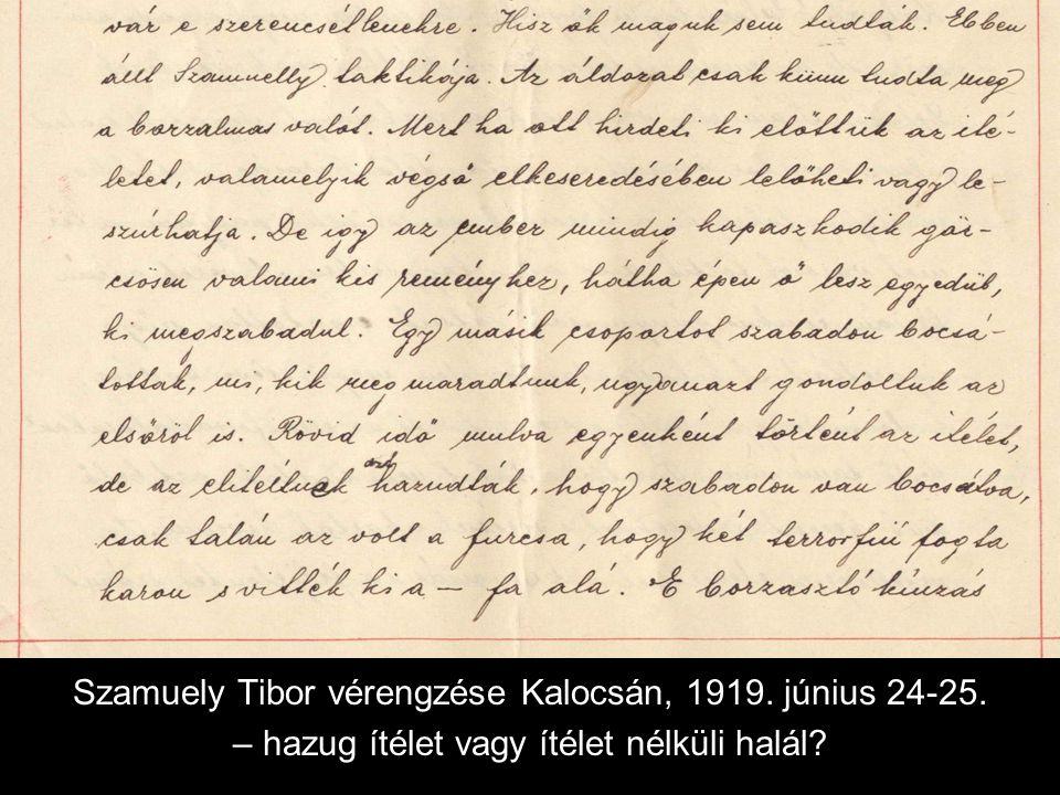 Szamuely Tibor vérengzése Kalocsán, 1919. június 24-25. – hazug ítélet vagy ítélet nélküli halál