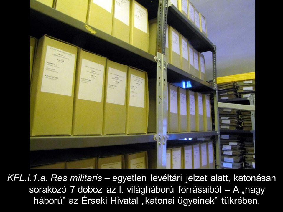 KFL.I.1.a. Res militaris – egyetlen levéltári jelzet alatt, katonásan sorakozó 7 doboz az I.