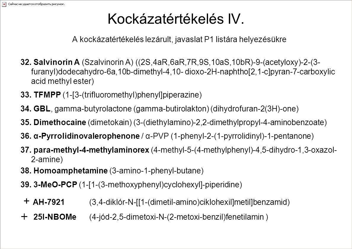 Kockázatértékelés IV. A kockázatértékelés lezárult, javaslat P1 listára helyezésükre 32. Salvinorin A (Szalvinorin A) ((2S,4aR,6aR,7R,9S,10aS,10bR)-9-