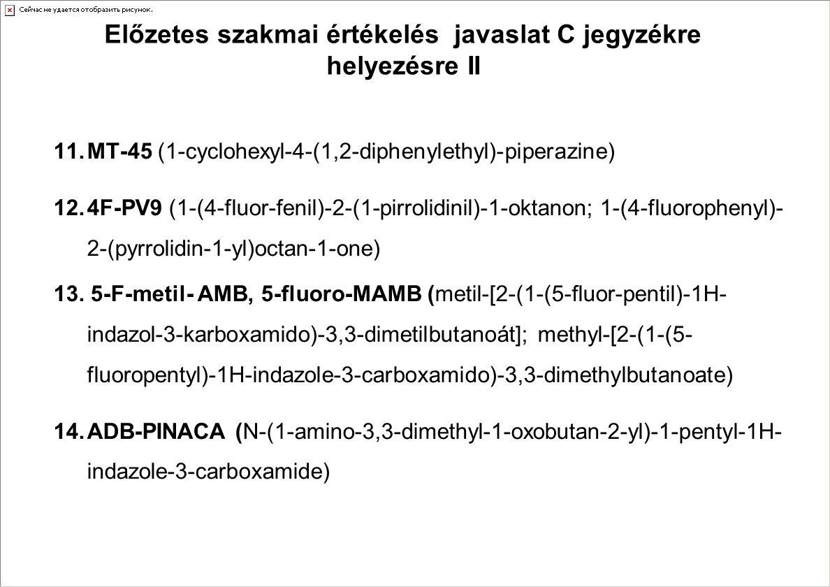 Előzetes szakmai értékelés javaslat C jegyzékre helyezésre II 11.MT-45 (1-cyclohexyl-4-(1,2-diphenylethyl)-piperazine) 12.4F-PV9 (1-(4-fluor-fenil)-2-(1-pirrolidinil)-1-oktanon; 1-(4-fluorophenyl)- 2-(pyrrolidin-1-yl)octan-1-one) 13.