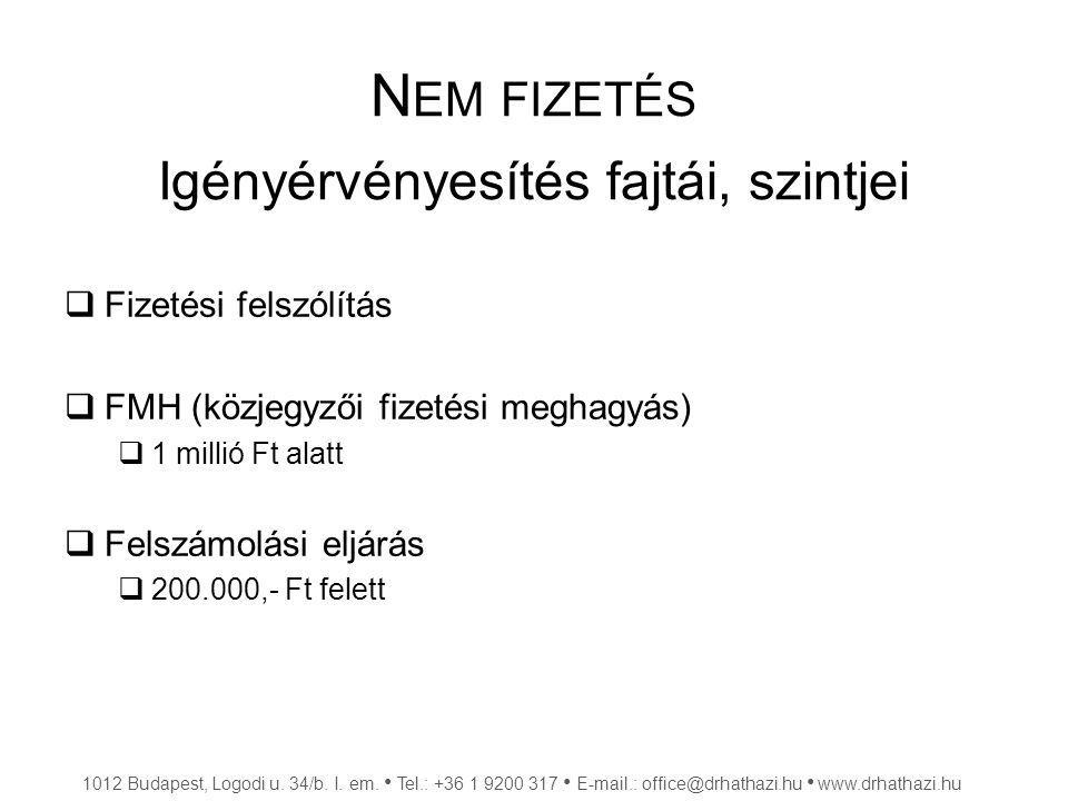 N EM FIZETÉS Igényérvényesítés fajtái, szintjei  Fizetési felszólítás  FMH (közjegyzői fizetési meghagyás)  1 millió Ft alatt  Felszámolási eljárá
