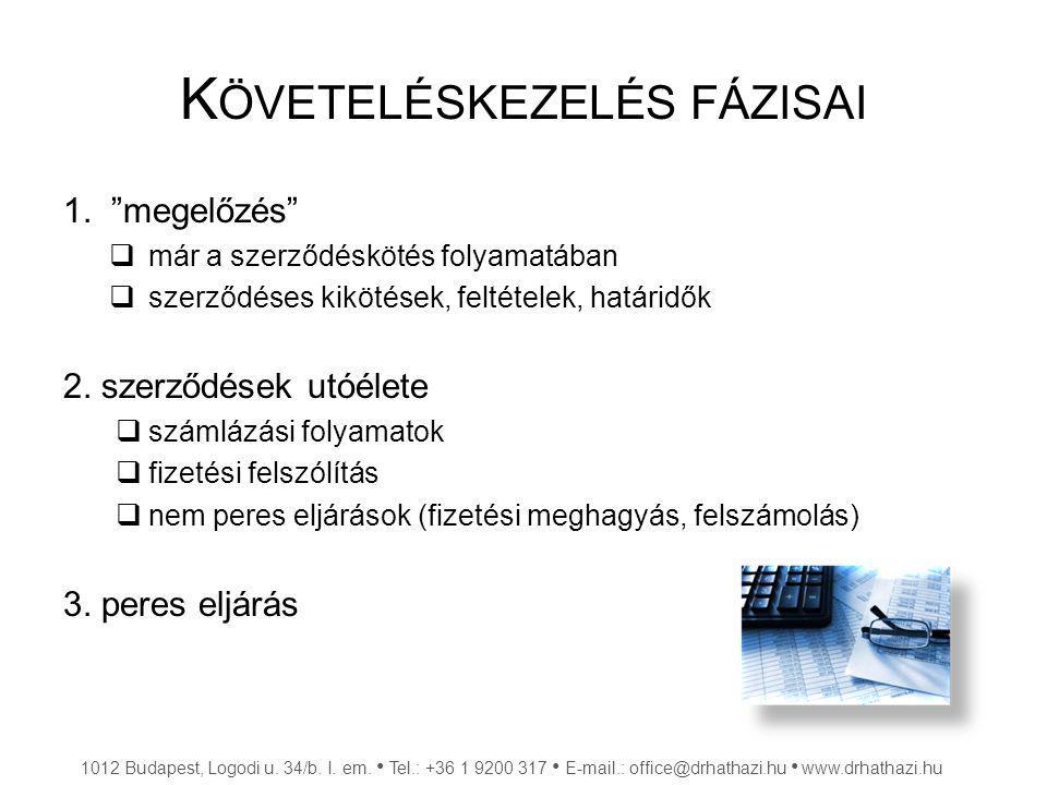 F IZETÉSI MEGHAGYÁS (FMH)  Feltételei, szabályai:  1 millió Ft alatt  közjegyzői eljárás (elektronikus kérelem + 3 % díj)  közjegyző bocsátja ki  ha az adósnak van ismert idézési címe belföldön  ha nem munkaviszonyból származik a követelés  költségtérítés  lehet ellentmondás: perré alakul + 3 % illeték 1012 Budapest, Logodi u.