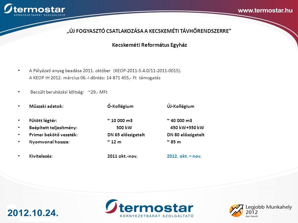 A Pályázati anyag beadása 2011. október (KEOP-2011-5.4.0/11-2011-0015). A KEOP IH 2012. március 06.-i döntés: 14 871 455,- Ft támogatás Becsült beruhá