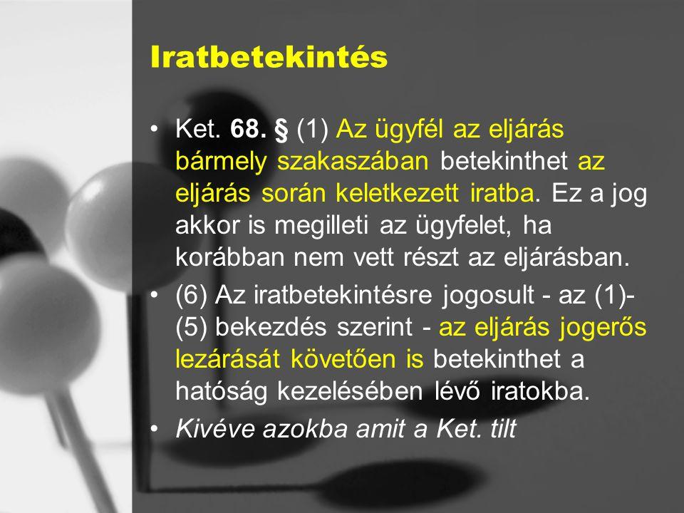 Iratbetekintés Ket.68.