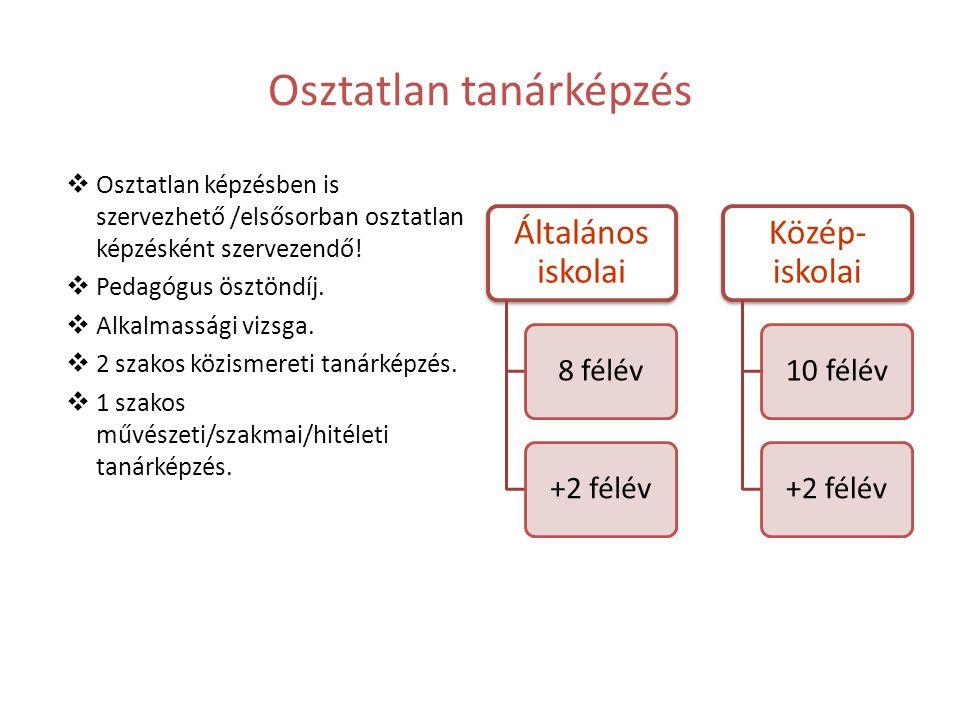 Osztatlan tanárképzés  Osztatlan képzésben is szervezhető /elsősorban osztatlan képzésként szervezendő!  Pedagógus ösztöndíj.  Alkalmassági vizsga.