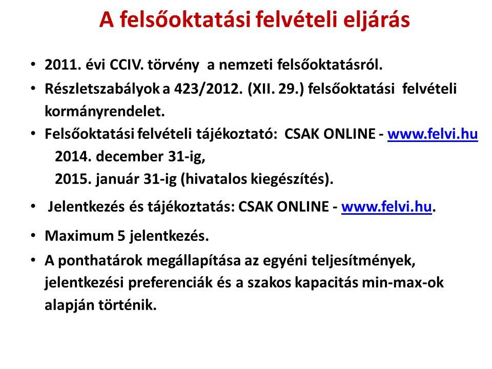 A felsőoktatási felvételi eljárás 2011. évi CCIV. törvény a nemzeti felsőoktatásról. Részletszabályok a 423/2012. (XII. 29.) felsőoktatási felvételi k