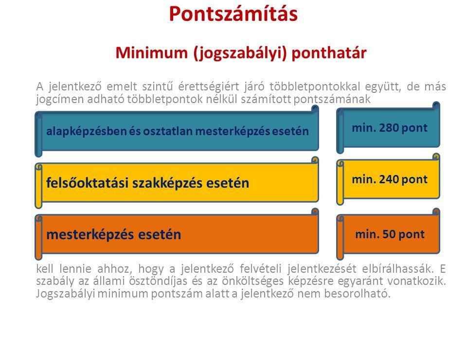Pontszámítás Minimum (jogszabályi) ponthatár A jelentkező emelt szintű érettségiért járó többletpontokkal együtt, de más jogcímen adható többletpontok