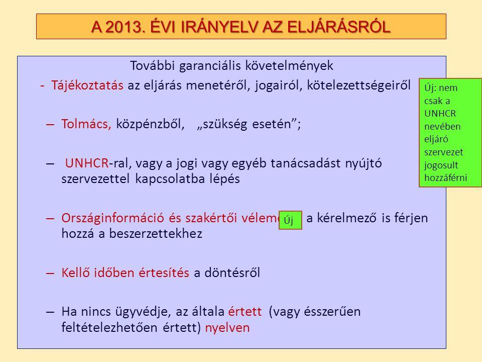 A 2013. ÉVI IRÁNYELV AZ ELJÁRÁSRÓL További garanciális követelmények - Tájékoztatás az eljárás menetéről, jogairól, kötelezettségeiről – Tolmács, közp